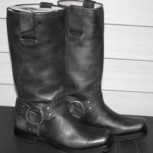 FRYE HEATH HARNESS 6 Woman's Black Biker Boot NEW